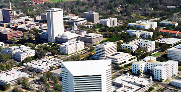 Photograph of the Capitol Center buildings from an airplane.