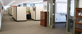 Photograph of interior office area in a High Performance Building.